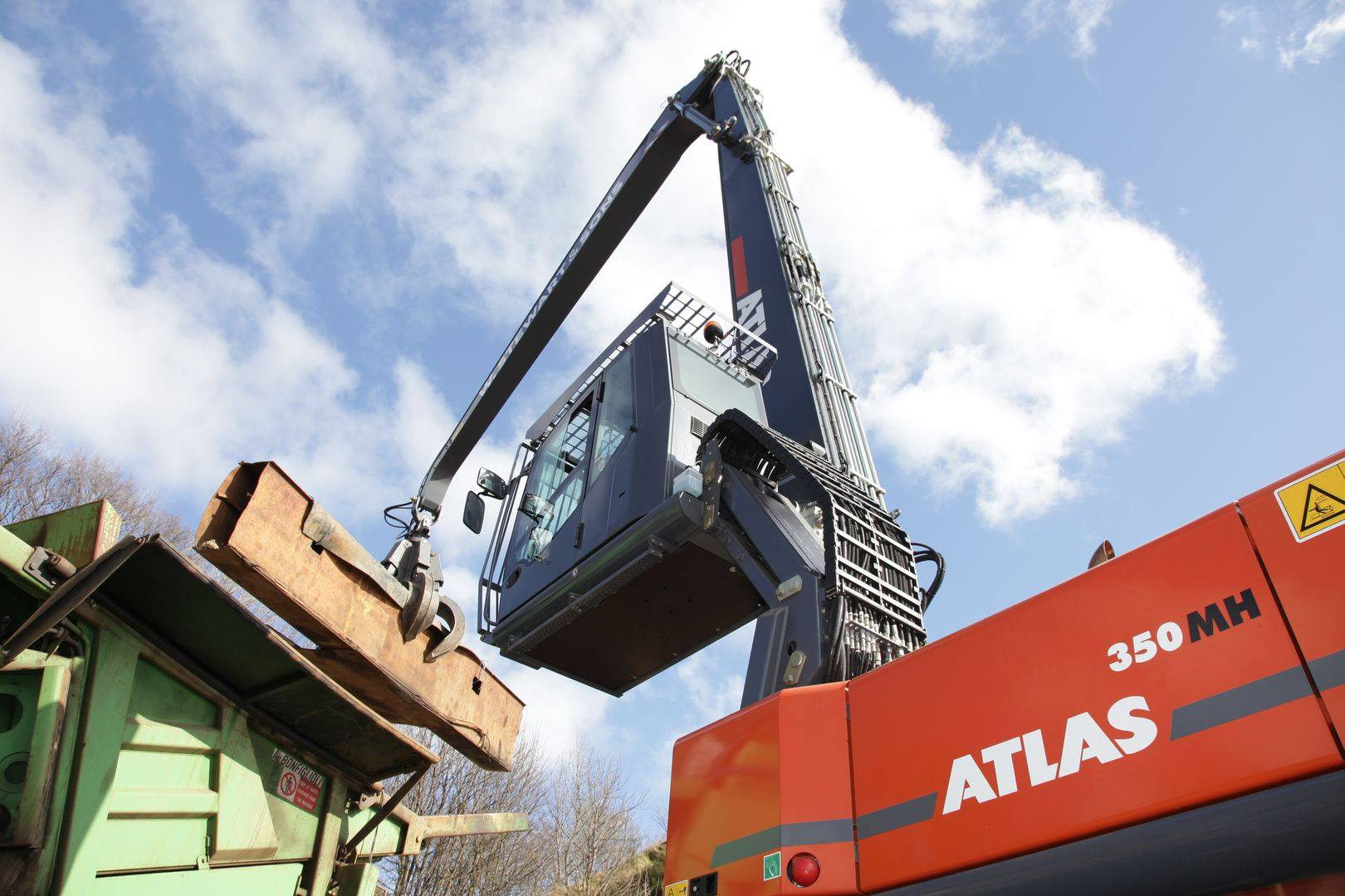 Atlas 350MH material handler with cab raised